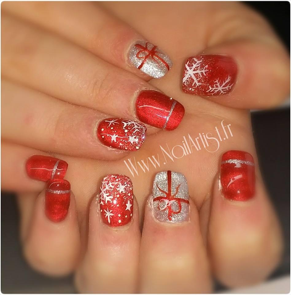 Deco Noel ongles rouge