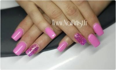 Ongles complet rose et paillette